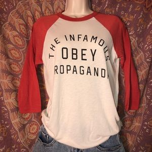 xs obey red and white baseball tee